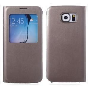 For Samsung Galaxy S6 / G920 Litchi Texture Horizontal Flip Leather Case with Call Display ID & Sleep function (Silver)