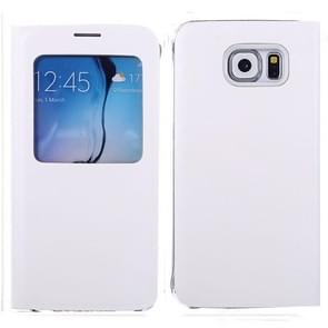 For Samsung Galaxy S6 / G920 Litchi Texture Horizontal Flip Leather Case with Call Display ID & Sleep function (White)