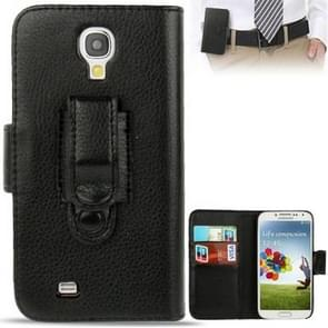 Lichi Texture Flip Leather Case Cover with Credit Card Slots & Belt Clip for Samsung Galaxy S IV / i9500(Black)