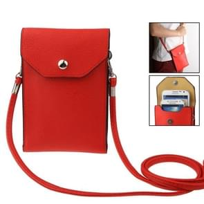 Universal Litchi Texture Leather Case Pocket Sleeve Bag with Lanyard for iPhone 6 Plus, iPhone 6S Plus, Samsung Galaxy S7 / S7 Edge / S6 edge Plus / A8 / Note 5 / Note 4 / S IV, HTC, ASUS, Sony, LG, Nokia(Red)
