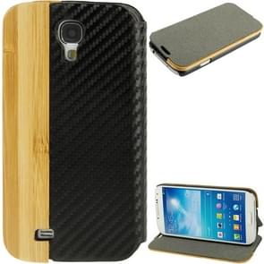Bamboo Magnet Patch Carbon Fiber Horizontal Flip Leather Case with Holder for Samsung Galaxy S IV / i9500