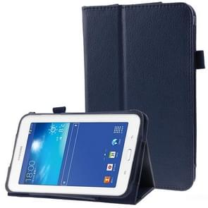Litchi Texture Flip Leather Case with Holder for Samsung Galaxy Tab 3 Lite T110 / T111(Dark Blue)