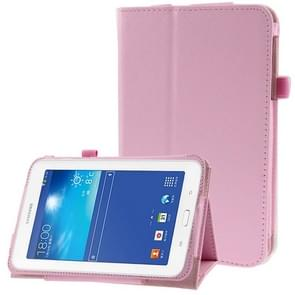 Litchi Texture Flip Leather Case with Holder for Samsung Galaxy Tab 3 Lite T110 / T111(Pink)