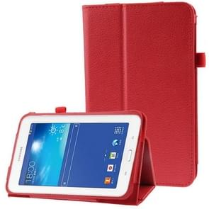 Litchi Texture Flip Leather Case with Holder for Samsung Galaxy Tab 3 Lite T110 / T111(Red)