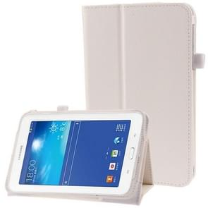 Litchi Texture Flip Leather Case with Holder for Samsung Galaxy Tab 3 Lite T110 / T111(White)