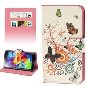 vlinder Dancing patroon lederen hoesje met opbergruimte voor pinpassen opberg vakjes & houder voor Samsung Galaxy S5 / G900
