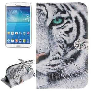 Tiger Pattern Leather Case with Holder & Card Slots & Wallet for Samsung Galaxy Tab 3 8.0 / T310