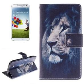 Lion Pattern Horizontal Flip Leather Case with Holder & Card Slots & Wallet for Samsung Galaxy S IV / i9500