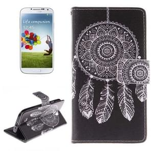 Abstract Windbell Pattern Horizontal Flip Leather Case with Holder & Card Slots & Wallet for Samsung Galaxy S IV / i9500