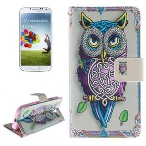 Owl Pattern Horizontal Flip Leather Case with Holder & Card Slots & Wallet for Samsung Galaxy S IV / i9500