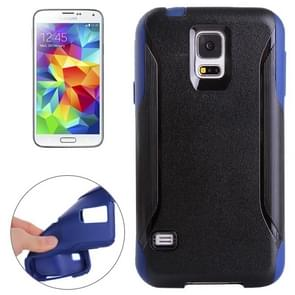 Frosted Texture Plastic + TPU Combination Case for Samsung Galaxy S5 / G900 (Black + Dark Blue)