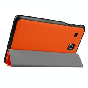 Custer Texture Horizontal Flip Solid Color Leather Case with Three-folding Holder for Samsung Galaxy Tab E 8.0 / T377V(Orange)