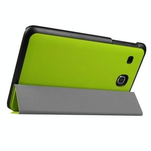 Custer Texture Horizontal Flip Solid Color Leather Case with Three-folding Holder for Samsung Galaxy Tab E 8.0 / T377V(Green)