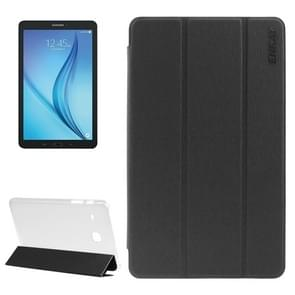ENKAY Toothpick Texture PU Tablet Case with Three-folding Holder & Translucent Frosted Plastic Back Shell for Samsung Galaxy Tab E 8.0 / T377 / T375(Black)