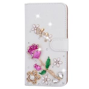 For Samsung Galaxy S7 Edge / G935 Diamond Encrusted Rose Pattern Horizontal Flip Leather Case with Holder & Card Slots