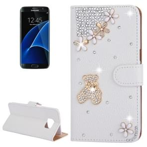For Samsung Galaxy S7 Edge / G935 Diamond Encrusted Bear Pattern Horizontal Flip Leather Case with Holder & Card Slots