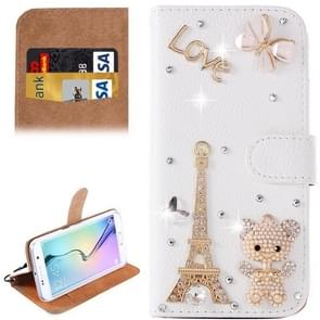For Samsung Galaxy S6 Edge+ / G928 Diamond Encrusted Pattern Horizontal Flip Leather Case with Holder & Card Slots