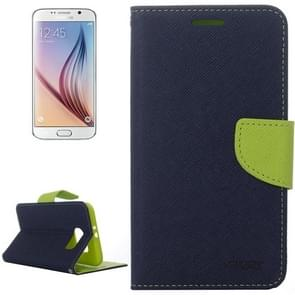 For Samsung Galaxy S6 Cross Texture Horizontal Flip Magnetic Buckle Contrast Color Leather Case with Card Slots & Wallet & Holder (Dark Blue)
