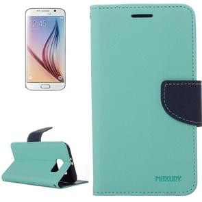 For Samsung Galaxy S6 Cross Texture Horizontal Flip Magnetic Buckle Contrast Color Leather Case with Card Slots & Wallet & Holder (Light Blue)