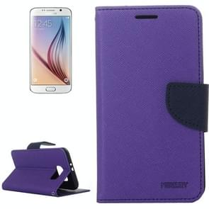For Samsung Galaxy S6 Cross Texture Horizontal Flip Magnetic Buckle Contrast Color Leather Case with Card Slots & Wallet & Holder (Purple)