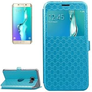 For Samsung Galaxy S6 Edge+ / G928 Argyles Texture Horizontal Flip Solid Color Leather Case with Holder & Card Slot & Call Display ID (Blue)