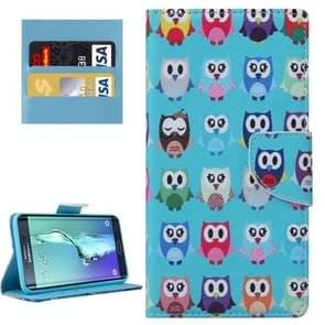 For Samsung Galaxy S6 Edge+ / G928 Lovely Cartoon Owls Patterns Horizontal Flip Leather Case with Holder & Card Slots & Wallet