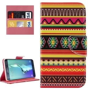 For Samsung Galaxy S6 Edge+ / G928 National Style Stripes Patterns Horizontal Flip Leather Case with Holder & Card Slots & Wallet