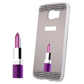 For Samsung Galaxy S6 Edge+ / G928 Diamond Encrusted Mirror TPU Protective Case (Grey)