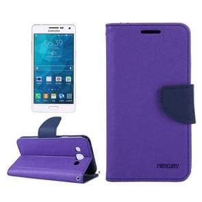 MERCURY Cross Texture Contrast Color Style Leather Case with Holder & Card Slots & Wallet for Samsung Galaxy A3 / A300(Purple)