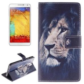 Lion Pattern Horizontal Flip Leather Case with Holder & Card Slots & Wallet for Samsung Galaxy Note III / N9000