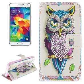 Owl Pattern Horizontal Flip Leather Case with Holder & Card Slots & Wallet for Samsung Galaxy S5 / G900
