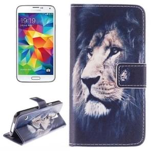 Lion Pattern Horizontal Flip Leather Case with Holder & Card Slots & Wallet for Samsung Galaxy S5 / G900