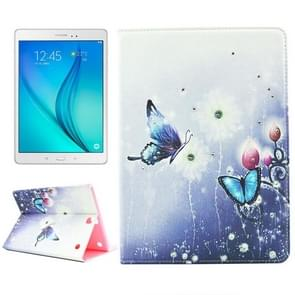 Butterfly Loves Flower Pattern Diamond Encrusted Horizontal Flip Leather Case with Holder for Samsung Galaxy Tab A 9.7 / T550
