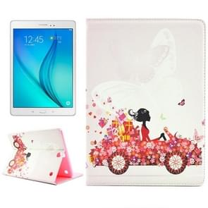 Fashion Lady and Flowers Pattern Diamond Encrusted Horizontal Flip Leather Case with Holder for Samsung Galaxy Tab A 9.7 / T550