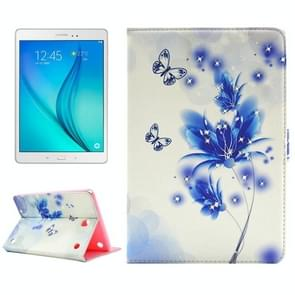 Butterfly Loves Flower Pattern Diamond Encrusted Horizontal Flip Leather Case with Holder for Samsung Galaxy Tab A 8.0 / T350