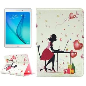 Fashion Lady Pattern Diamond Encrusted Horizontal Flip Leather Case with Holder for Samsung Galaxy Tab A 8.0 / T350