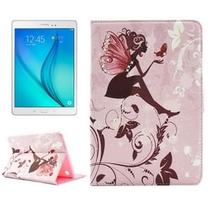 Fashion Lady and Flowers Pattern Diamond Encrusted Horizontal Flip Leather Case with Holder for Samsung Galaxy Tab A 8.0 / T350