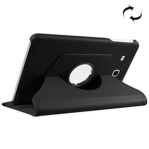 Litchi Texture Horizontal Flip Solid Color Leather Case with 360 Degrees Rotation Holder for Samsung Galaxy Tab E 9.6 / T560 / T561(Black)