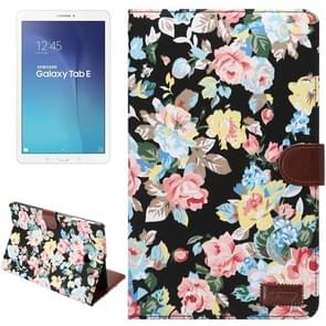 Flower Pattern Cloth Surface Horizontal Flip Leather Case with Wallet & Card Slots & Holder for Samsung Galaxy Tab E 9.6 / T560(Black)