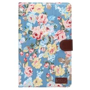 Flower Pattern Cloth Surface Horizontal Flip Leather Case with Wallet & Card Slots & Holder for Samsung Galaxy Tab E 9.6 / T560(Blue)