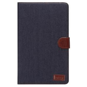 Denim Texture Horizontal Flip Solid Color Leather Case with Wallet & Card Slots & Holder for Samsung Galaxy Tab E 9.6 / T560(Black)