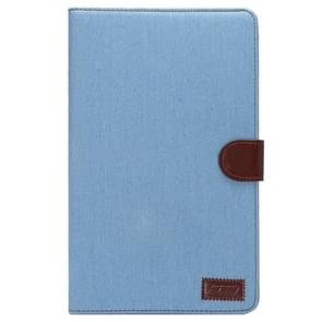 Denim Texture Horizontal Flip Solid Color Leather Case with Wallet & Card Slots & Holder for Samsung Galaxy Tab E 9.6 / T560(Blue)