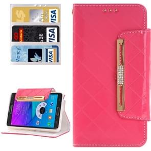 Grid Texture Horizontal Flip Diamond Encrusted Leather Case with Wallet & Card Slot & Holder & Lanyard for Samsung Galaxy Note 5 / N920(Pink)