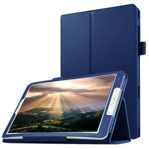 Litchi Texture Horizontal Flip Solid Color Leather Case with Holder for Samsung Galaxy Tab E 8.0 / T377V(Dark Blue)