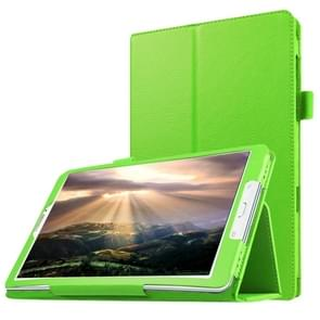 Litchi Texture Horizontal Flip Solid Color Leather Case with Holder for Samsung Galaxy Tab E 8.0 / T377V(Green)