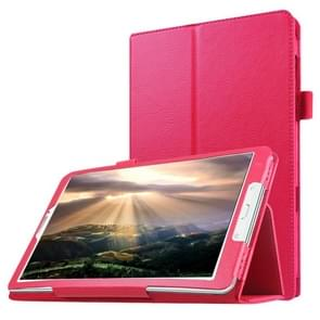 Litchi Texture Horizontal Flip Solid Color Leather Case with Holder for Samsung Galaxy Tab E 8.0 / T377V(Magenta)