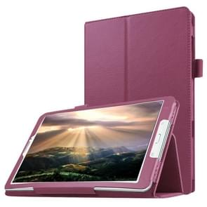 Litchi Texture Horizontal Flip Solid Color Leather Case with Holder for Samsung Galaxy Tab E 8.0 / T377V(Purple)