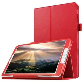 Litchi Texture Horizontal Flip Solid Color Leather Case with Holder for Samsung Galaxy Tab E 8.0 / T377V(Red)