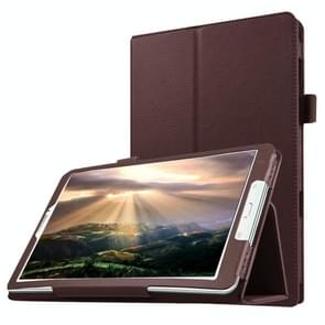 Litchi Texture Horizontal Flip Solid Color Leather Case with Holder for Samsung Galaxy Tab E 8.0 / T377V(Brown)
