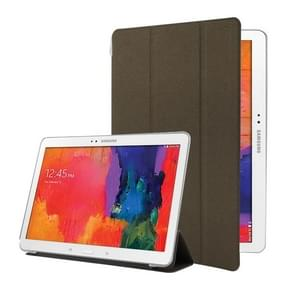 For Samsung Galaxy Tab Pro 10.1 / SM-T520 Frosted Texture Flip Leather + Transparent Trosted Plastic Case with Holder(Brown)